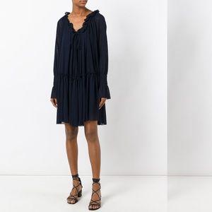 See By Chloé Navy Gauze Jersey Dress